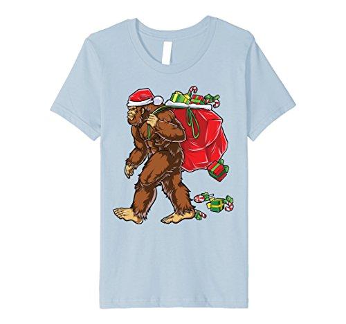 [Kids Bigfoot Santa T Shirt Hat Carrying Christmas Bag Sasquatch 12 Baby Blue] (Baby Sasquatch Costume)