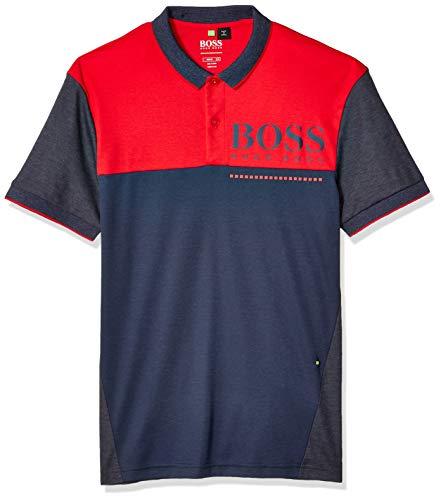 Boss Green Golf - BOSS Green Men's PL-Tech Short Sleeve Polo Shirt, Navy, S