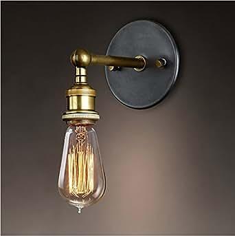 Splink Vintage lámpara de metal lámpara de pared industrial latón acabado simple cabeza de cobre lámpara de pared con casquillos E27 Socket para casa, bar, restaurantes, cafetería, club Decoración (110 - 220 V, bombillas no incluidas)