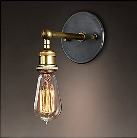 Splink vintage industrial wall sconce wall light lamp adjustable splink vintage industrial wall sconce wall light lamp adjustable brass finished copper head with e27 socket aloadofball Choice Image