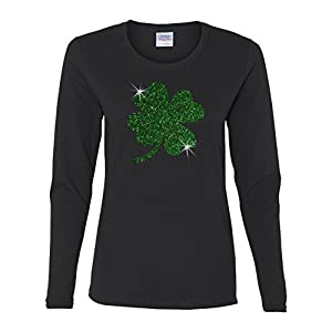 Custom Apparel R Us ST. Patricks Day Green Glitter Lucky Clover Ladies' Long-Sleeve Shirt