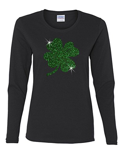 Custom Apparel R Us ST. Patricks Day Green Glitter Lucky Clover Ladies Long-Sleeve Shirt