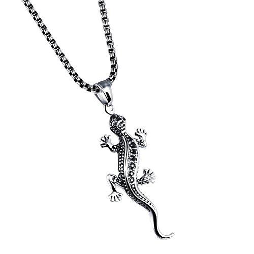 UM Bijoux Pendentif Collier Homme Lézard Gecko Fantaisie Acier Inoxydable Couleur Noir Argent