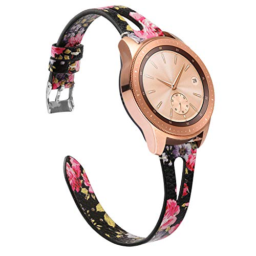 TOYOUTHS Leather Strap Compatible with Samsung Galaxy Watch 42mm Bands for Women Men, 20mm Width Genuine Leather Wristband Replacement for Galaxy Watch Active 40mm/Galaxy Smartwatch 42mm Floral (Band 20mm Watch Womens)