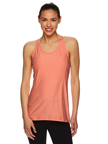 HEAD Women's Racerback Tank Top - Sleeveless Flowy Performance Activewear Shirt - Peach Echo Heather, Large