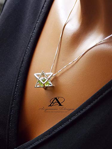 (Silver Merkaba Pendant with Peridot, August Birthstone, Star of David, Shield of David, Protection Necklace, Energy Necklace, Yoga, Kabbalh Necklace)