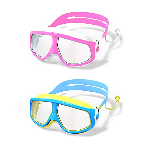 MOTOEYE Kids Swim Goggles Pack of 2,for Children and Early Teens,Boys and Girls from 5 to 15 Years Old,UV Protection