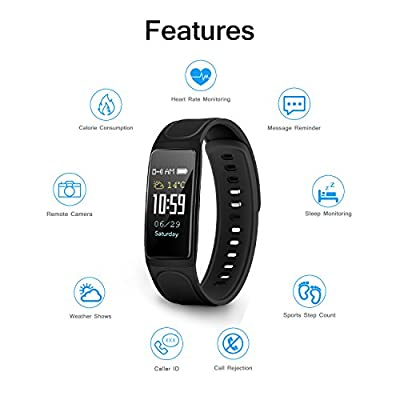 Fitness Tracker, MLVOC TP Smart Bracelet with Heart Rate Monitor, Activity Tracker, Color Screen IP67 Waterproof Pedometers Wristband for Android and IOS Smart Phones