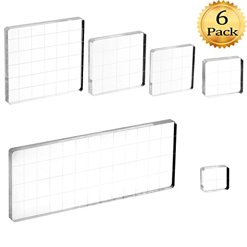 Whaline 6 Pieces Acrylic Stamp Block Clear Stamping Tools Set with Grid Lines for Scrapbooking Crafts Card Making, Assorted (Line Stamp Sets)