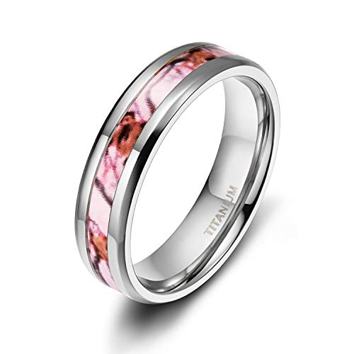 (TIGRADE 6MM Titanium Wedding Rings Band with Camouflage Mosaic Pattern Inlay in Comfort Fit Size 11)