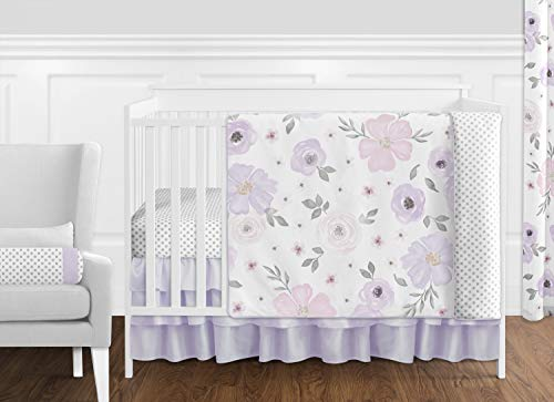 Sweet Jojo Designs Lavender Purple, Pink, Grey and White Shabby Chic Watercolor Floral Baby Girl Nursery Crib Bedding Set without Bumper - 11 pieces - Rose Flower Polka Dot -