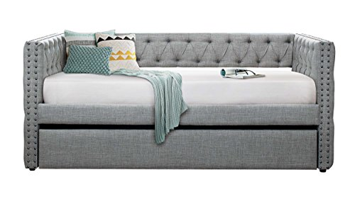 (Homelegance Adalie Tuxedo Twin Size Fabric Trundle Daybed, Gray)