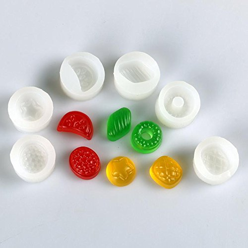 6pcs 3D Fruit Candy Silicone Mold - Sweet Fruit Mold Jewelry Cake Decoration, Fondant, Candy, Resin Clay, Miniature Mold