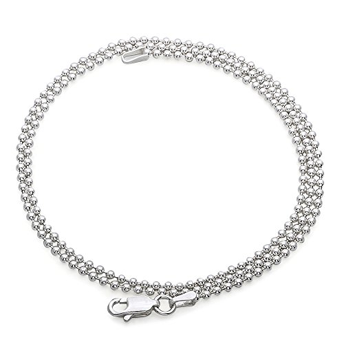 f7bc90054723d 2mm Mens Real Solid 925 Sterling Silver Military Ball Chain Dog Tag ...
