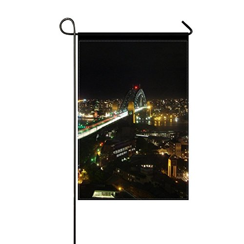 Fenda Garden Flag sydney night view from above road 12x18 inches(Without - Out Night Sydney