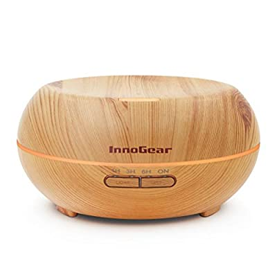 InnoGear Aromatherapy Essential Oil Diffuser Ultrasonic Cool Mist Diffusers with 7 Color LED Lights Waterless Auto Shut-off, Wood Grain