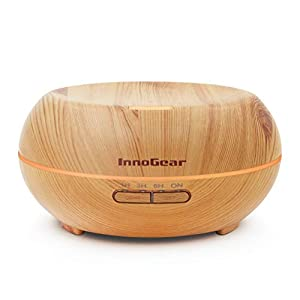 InnoGear 200ml Aromatherapy Essential Oil Diffuser Wood Grain Ultrasonic Cool Mist Diffusers with 7 Color LED Lights Waterless Auto Shut-Off