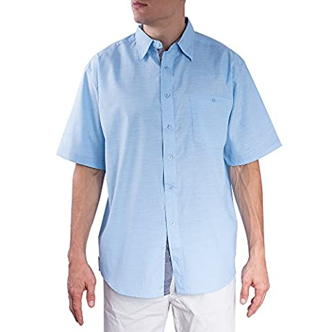Dress Shirts For Men | Casual Short Sleeve Button Down Classic Fit Oxford Shirt (Light Blue,Medium) - Island Company Blue Oxford