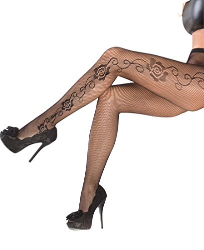 Coquette 1789 Women's Fishnet Tights Pantyhose With Rose Detail - One Size - Black