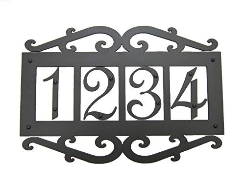 (Classic Spanish Style Horizontal Wrought Iron Address Plaque Standard 4 Number APHS14)
