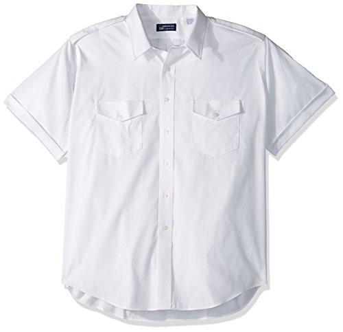 Van Heusen Men's Pilot Dress Shirt Short Sleeve, White, 16