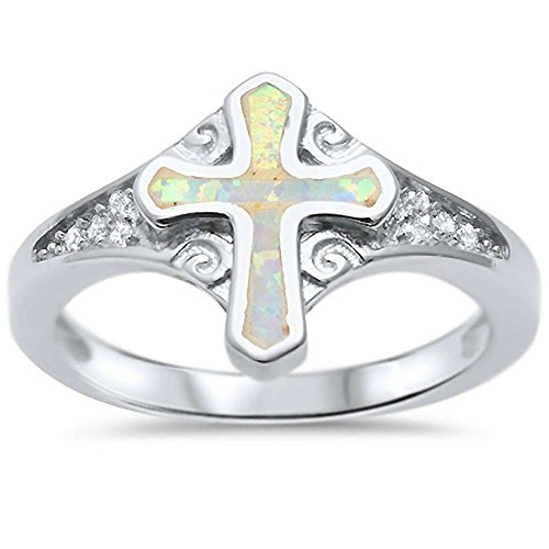 Oxford Diamond Co Sterling Silver Lab Created White Opal Cross Ring Sizes 8