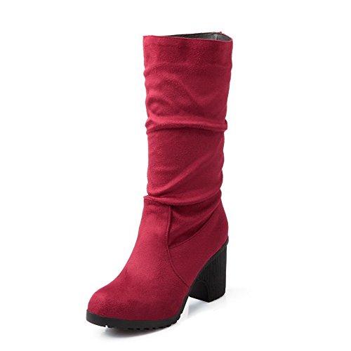 AllhqFashion Mujeres Caña Media Sólido Sin cordones Puntera Redonda Tacón Alto Botas Rojo