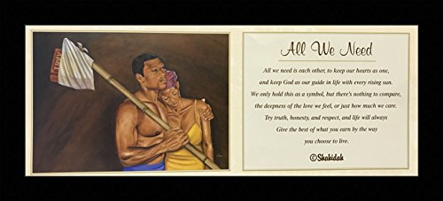 Black 1.5 inch Framed with ALL WE NEED, (AFRICAN AMERICAN ART/ROMANTIC/COUPLE/2098C) VALENTINE COLLECTION 8x20 Inch FRED MATHEWS/SHAHIDAH, AFRICAN AMERICAN ART Print Poster