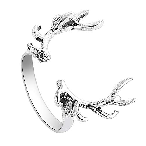 skoqjFQSen Boutique Accessory Gift Rings Fashion Women Adjustable Open Finger Ring Elk Antler Jewelry Antique Silver ()