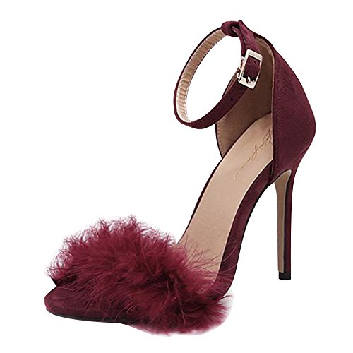 Sandales Rouge Chaton Adorn Hibote Sandales Plume Femmes Cheville Toe Strappy Haut Mesdames Peep Strap Talon Party 4ZB5q