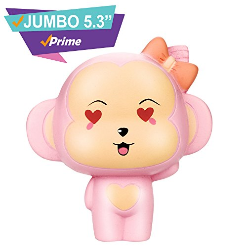 New Rare Jumbo Scented Monkey Squishy Animals| Kawaii Large Squishes Slow Rising Prime |Cute Toys| Alpaca Strawberry Cake Panda Galaxy Koala Food Peach| Cheap Pack Random Set (Pink Monkey) - Jumbo Monkey