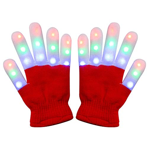 Amazer Kids Light Gloves Children Finger Light Flashing LED Warm Gloves with Lights for Birthday Light Party Christmas Xmas Dance Thanksgiving Day Gifts for More Fun- Red