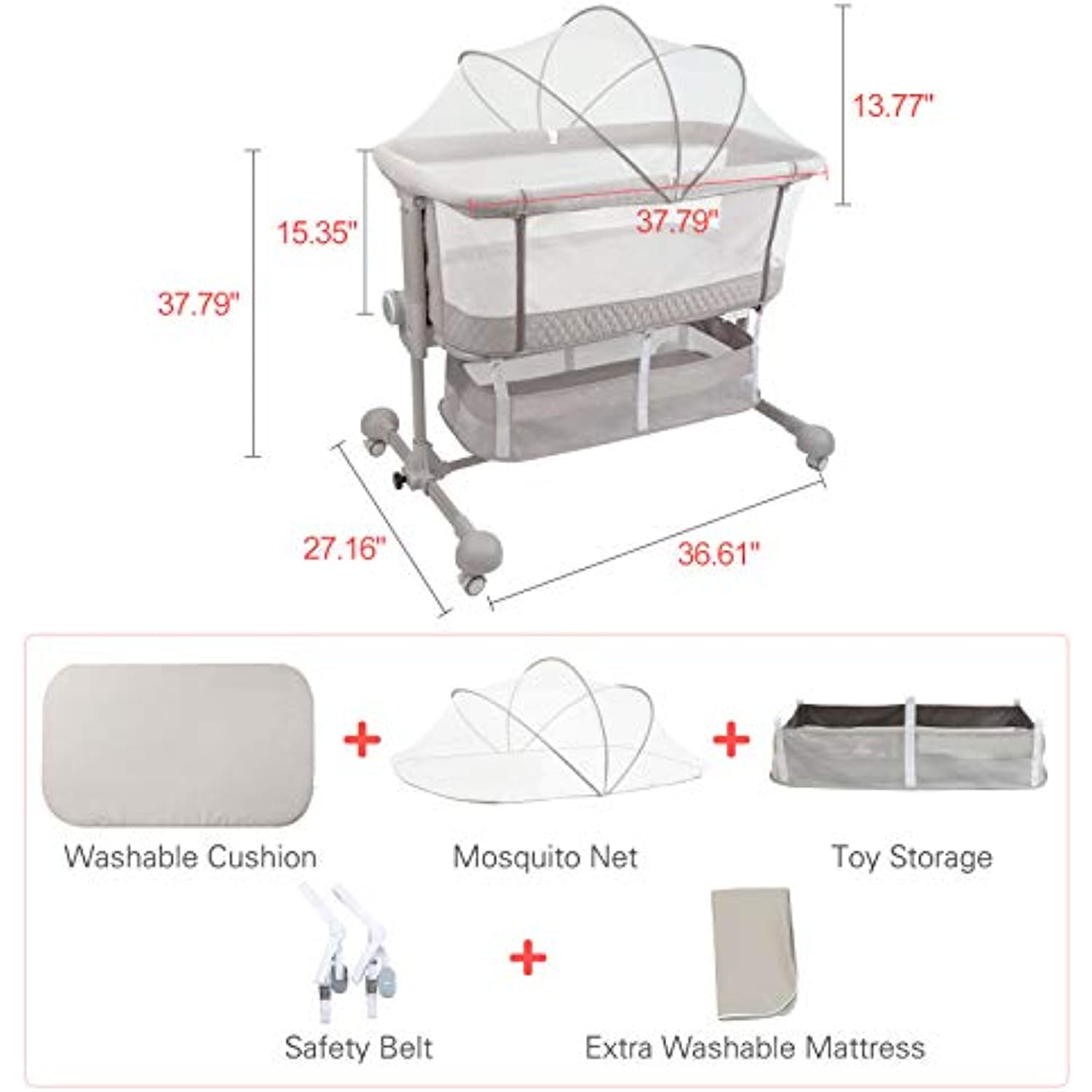 HAHASOLE Bedside Sleeper Baby Bed Cribs, Bassinet for Newborn Baby, Adjustable Portable Bed with Mattress Included and Height Adjustable