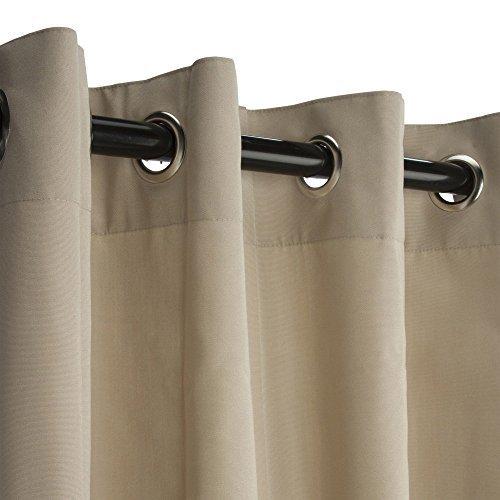 Sunbrella Outdoor Curtain with Nickel Grommets - Antique Beige 50x108 by Sunbrella