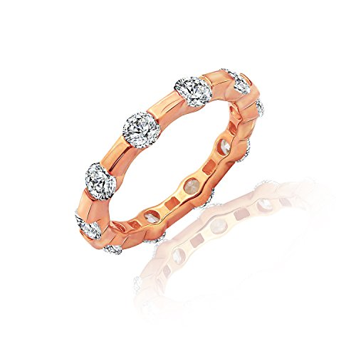 (Diamonbliss Rose Gold Clad Cubic Zirconia 100 Facet Tension Set Band Ring - Rose, Gold, Size 8)