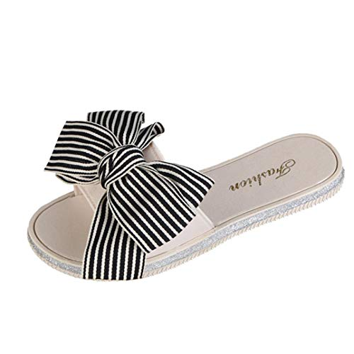 FORUU Women Fashion Stripe Bow Round Toe Flat Heel Sandals Slipper Beach Shoes Black (Sell Nike Jordan Shoes)