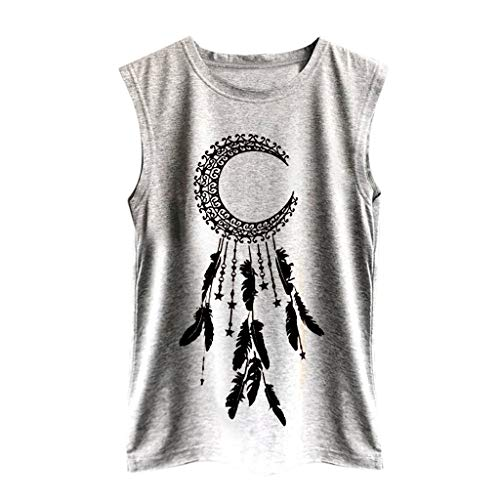 LUCA Summer Sleeveless Round Neck Sunflowe Print Shirt Casual Tank Tops Soft … (Gray -