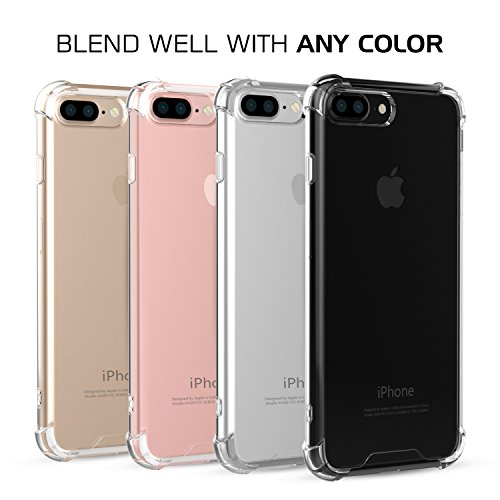 MoKo Case for iPhone 7 Plus - Shockproof Flexible TPU Bumper Anti-Scratch Rigid Slim Protective Cases Clear Back Cover for iPhone 7 Plus, Crystal Clear