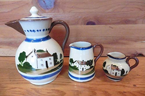 Pottery Tea pot kettle Watcombe Torquay England with creamer pitcher 3 Piece set