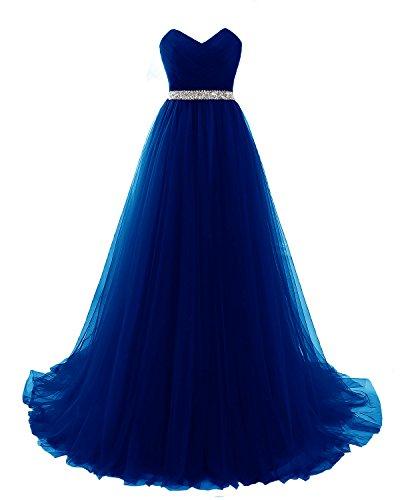 Elegant Lang Ballkleider Tüll 1721 Blau Abendkleider LuckyShe Partykleider Promkleider n6wTa65x