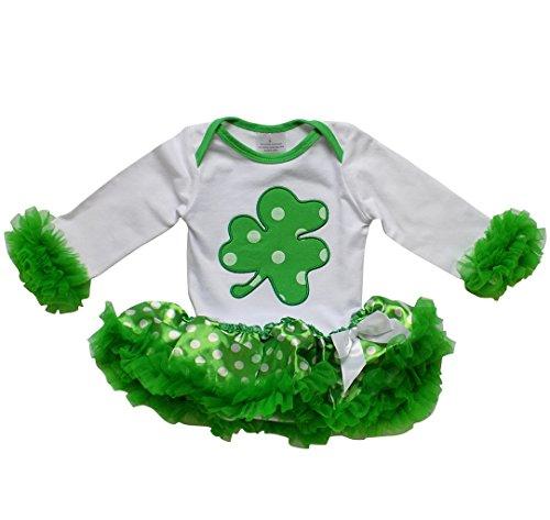 Chiffon Ruffle Sham - So Sydney Infant Baby Girls Tutu Chiffon Ruffle Skirted Onesie Holiday Romper (X-Large (12-18 Months), Polka Dot Shamrock ST. Patrick's Day!)