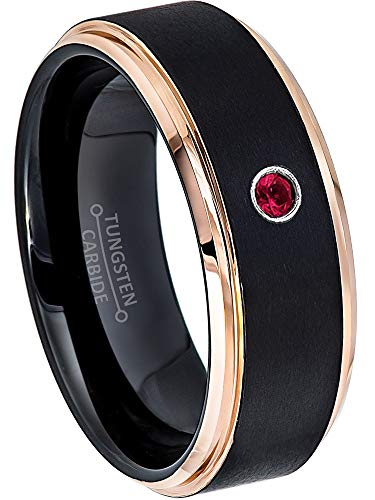 Jewelry Avalanche 0.07ct Ruby Tungsten Ring - July Birthstone Ring - 8MM Comfort Fit Matte 2-Tone Black & Rose Gold Stepped Edge Tungsten Carbide Wedding Band - Ruby Mens Bands Gold