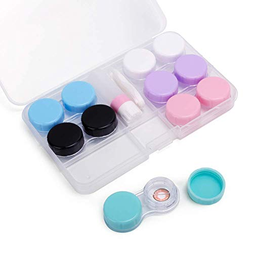 (Travel 6 Pack Contact Lens Case Container Holder Storage Box Portable Contact Lens Travel Kits (Opaque))