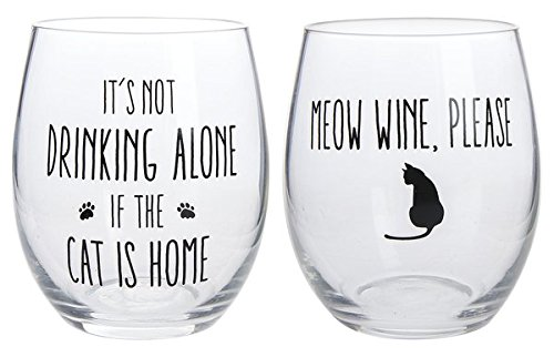 Four Legged Friends Stemless Wine Glasses, Set of Two