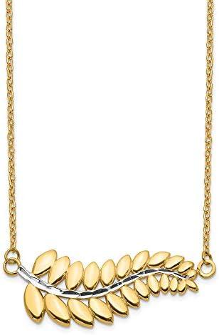 14K White Rhodium Fern Necklace 14k Yellow Rhodium Length 17 inch