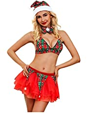 Dames Kerst Lingerie Sexy Kerstman Lingerie Set Outfits Kanten Jurk Babydoll Teddy Nighties