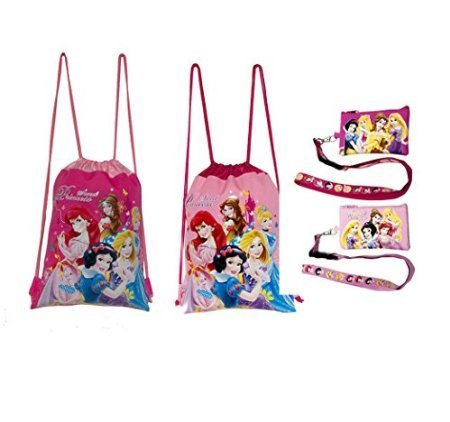 Disney Princess Drawstring Backpacks Lanyards