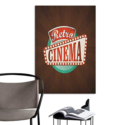Wall Mural Wallpaper Stickers Movie Theater Retro Style Cinema Sign Design Film Festival Hollywood Theme Brown Turquoise Vermilion Men's Room Wall W24 x H36