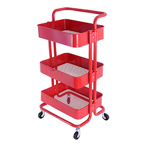 3-Tier Metal Mesh Utility Rolling Cart with Removable Handle and Plug, Indoor or Outdoor Storage Organizer Cart, Red (Melody House)