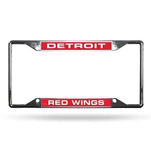 Rico Detroit Red Wings NHL All Corner EZ View Chrome Metal Laser Cut License Plate Frame